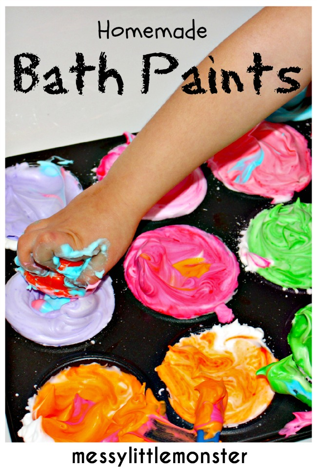 How to make simple homemade bath paint using 2 ingredients.  A fun process art technique for kids.
