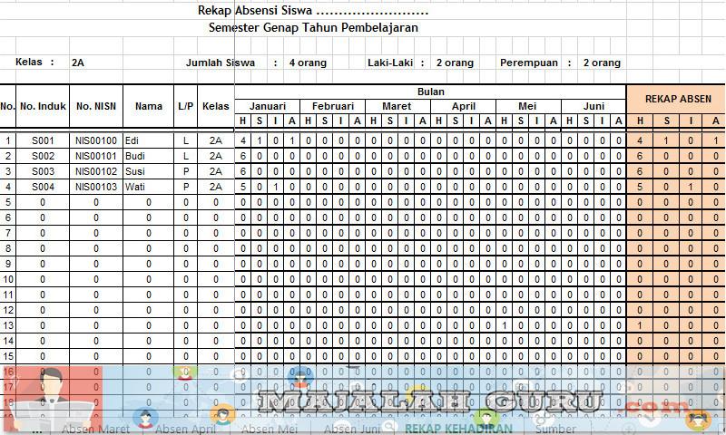 Download Contoh Absensi Siswa Excel Rekap Otomatis Semester 1 dan 2