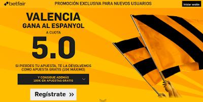 betfair Valencia gana Espanyol supercuota 5 Liga 13 febrero