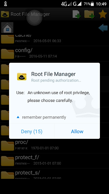 allow the root access of Android app