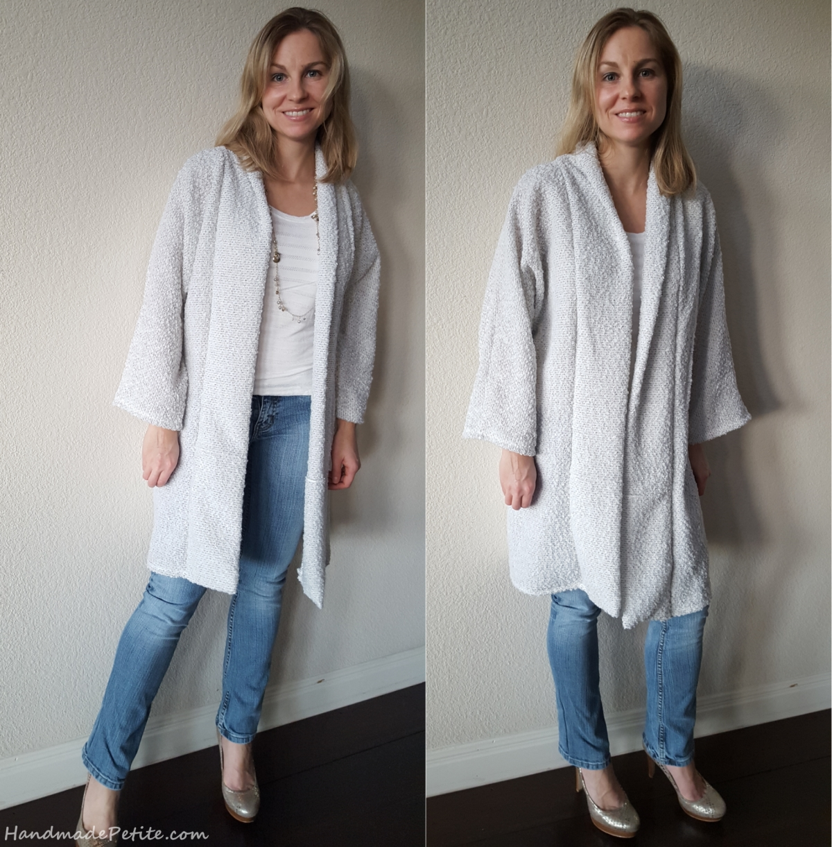 Sewing McCalls M6802 long sweater in white boucle