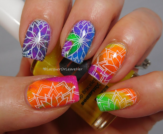 UberChic Beauty 25-02 over Drip marble featuring Shinepark Polish's Radical Flakes Collection