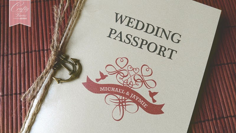 Vintage Nautical Passport Wedding Card with Anchor Charm