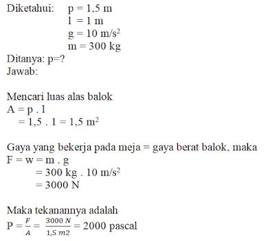Jawaban Soal Materi Tekanan Zat IPA SMP Kelas 2 Semester 2