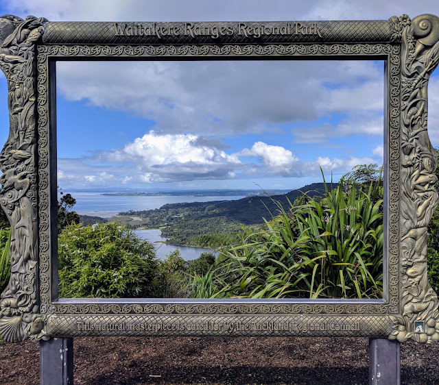 Picture framed view from Arataki Visitors Center on a day trip from Devonport New Zealand