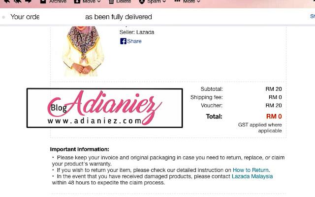 Lazada Sorry Voucher Yang Expired... Dapat Bawal Aidijuma