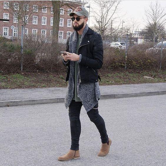 Jaqueta de Frio masculina com causa slim preta Moda Calitta Brasil