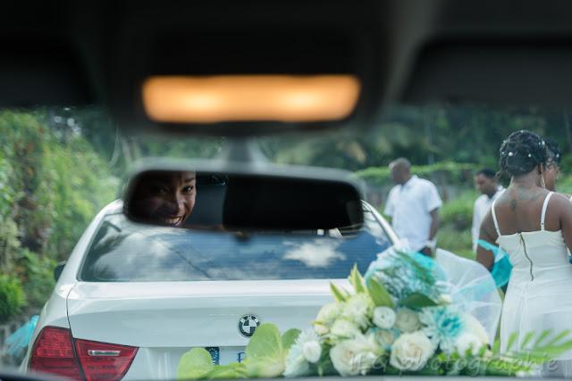 mariage guadeloupe voiture mariée dans rétro