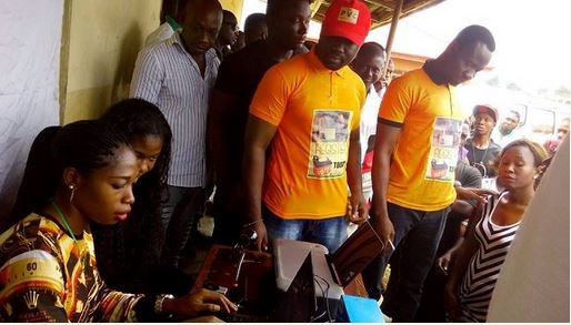 Photos of Nollywood Actress, Mercy Johnson and Her Husband at PVC Registration Centre in Edo