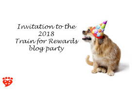 A little dog in a party hat invites pet bloggers to take part in the 2018 #Train4Rewards blog party
