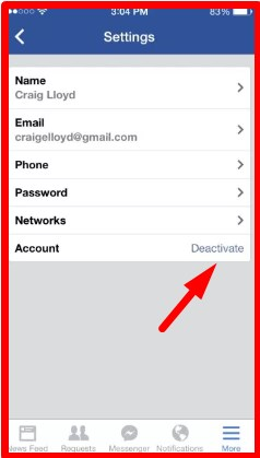 delete my facebook account on iphone