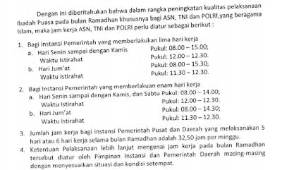 gambar jam kerja PNS/ASN, TNI dna POLRI