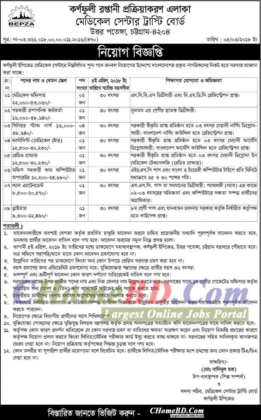 Bangladesh Export Processing Zone Authority BEPZA Job Circular 2018