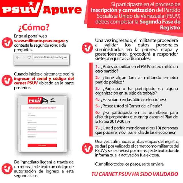 validar carnet del psuv activacion completar registro
