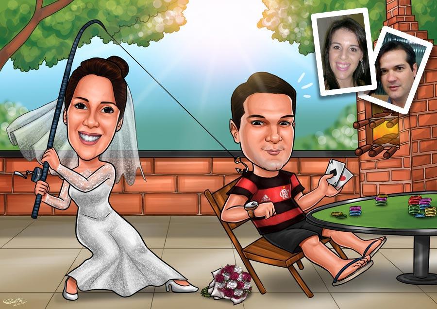 caricatura noivos jundiai sp
