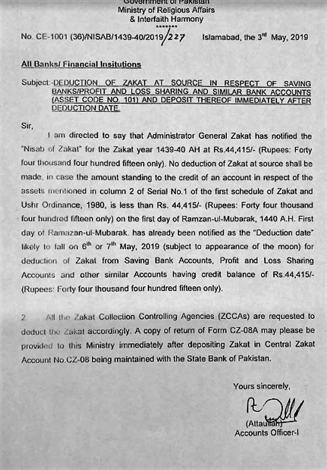 DEDUCTION OF ZAKAT AT SOURCE IN RESPECT OF SAVING / PROFIT AND LOSS SHARING AND SIMILAR BANK ACCOUNTS
