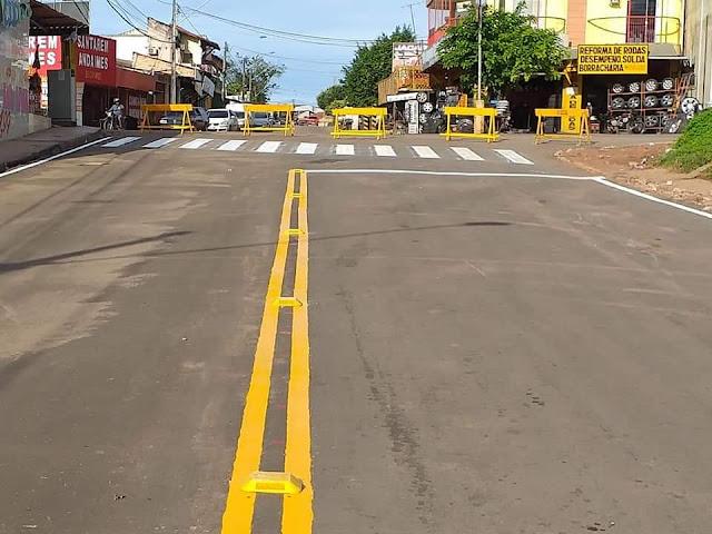 Prefeitura garante mais segurança nas ruas com nova sinalização após recapeamento