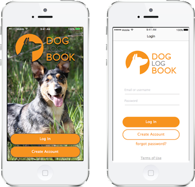 Doglogbook app first screen to register as a user