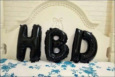Balon Foil Huruf HBD Warna Hitam