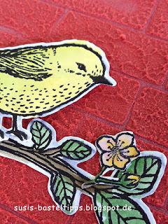 Strukturpaste mit Prägeform verwenden, Experiment mit Stampin' Up! Demonstratorin in Coburg, Vogelhochzeit  und mit Stil Karte Ermutigung