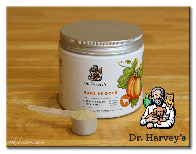 Dr. Harvey's Runs Be Done canister with scoop full.
