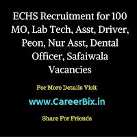 ECHS Recruitment for 100 MO, Lab Tech, Asst, Driver, Peon, Nur Asst, Dental Officer, Safaiwala Vacancies