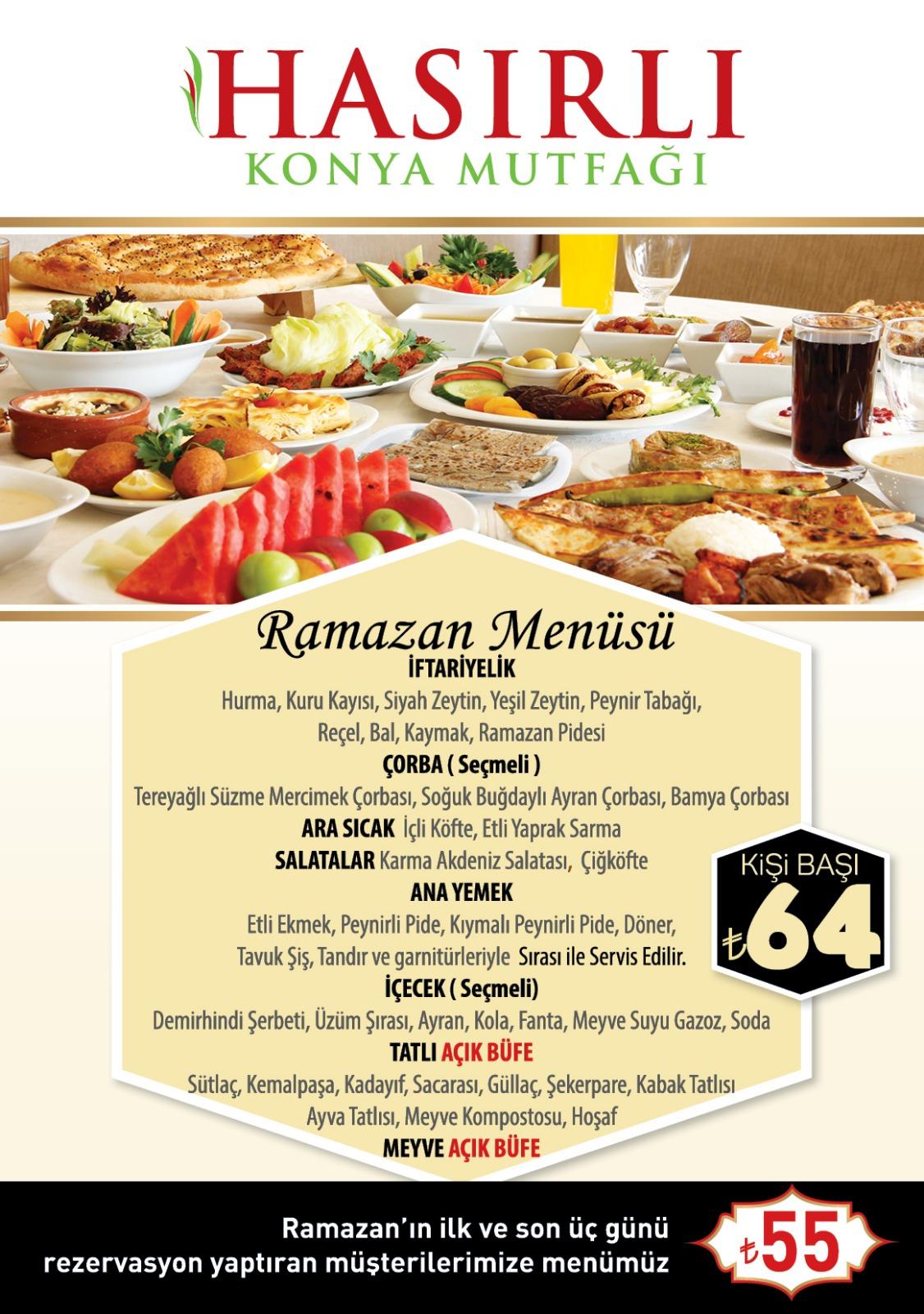 hasırlı konya mutfağı iftar menüleri