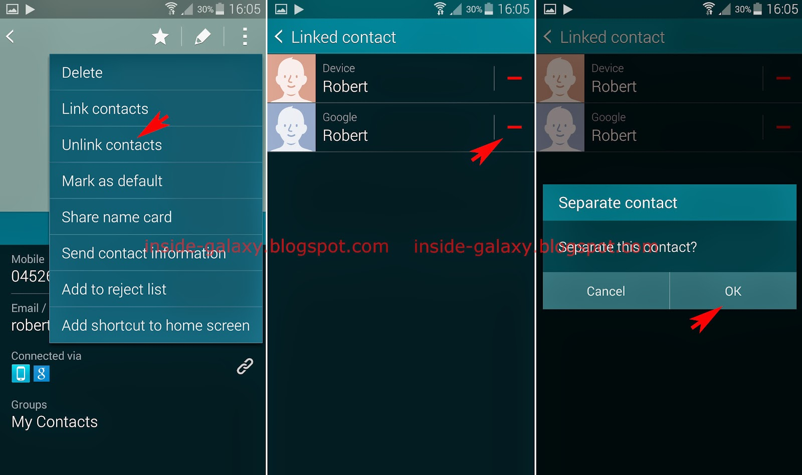samsung galaxy s how to delete contacts