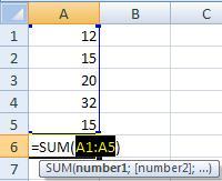 Penjumlahan Excel rumus SUM
