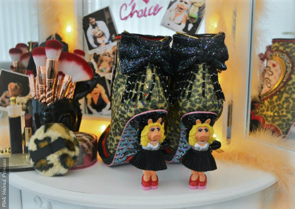 back glitter bow and beaded fringe detail on Miss Piggy character heel ankle boots