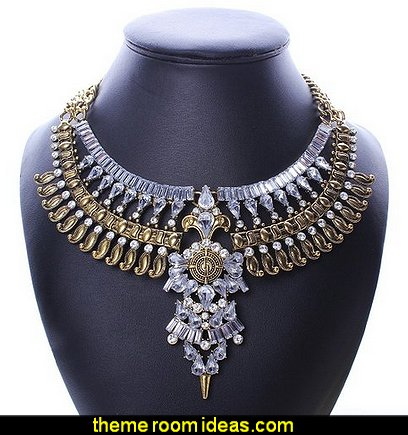 Baroque Vintage Retro Style Faceted Rhinestone Festoon Chandelier Bib Necklace