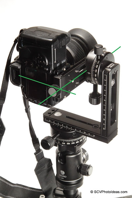 Camera positioning on Benro Multi Row Panorama Head - rear view