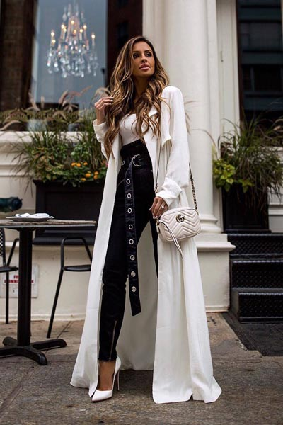 17 Fresh Fall Fashion Outfits To Update Your Closet In 2018 | Trench+ Cropped Apron Top+ Paperbag Moto Pants+ Gucci Shoulder Bag