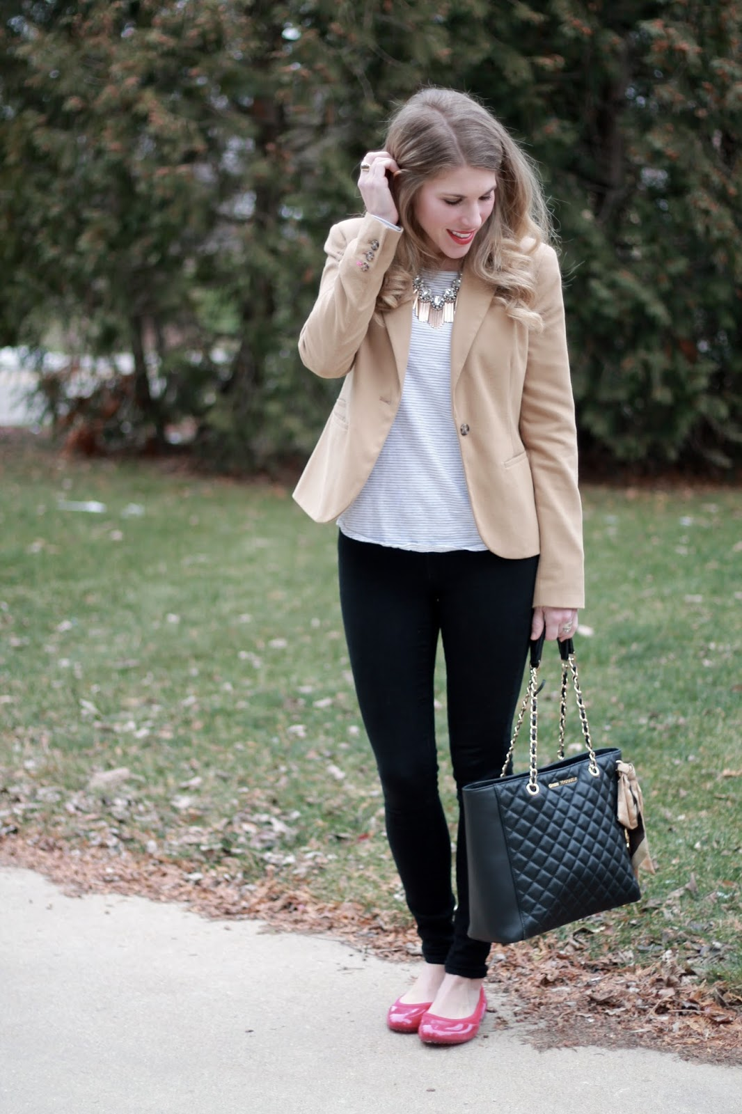 long sleeve striped tee, black jeans, camel blazer, Greg Michaels black leather tote, ja-vie red flats,