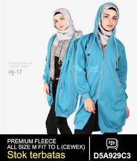 jaket muslimah panjang biru muda
