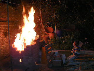 blazing bonfire in back garden