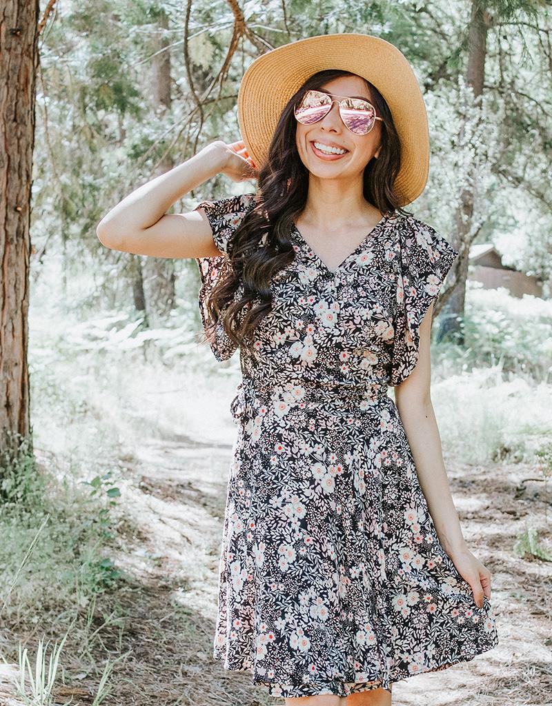 vintage style modest wrap dress