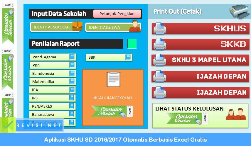 Aplikasi SKHU SD 2016 - 2017 Otomatis Berbasis Excel Gratis