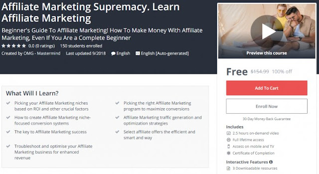 [100% Off] Affiliate Marketing Supremacy. Learn Affiliate Marketing| Worth 154,99$
