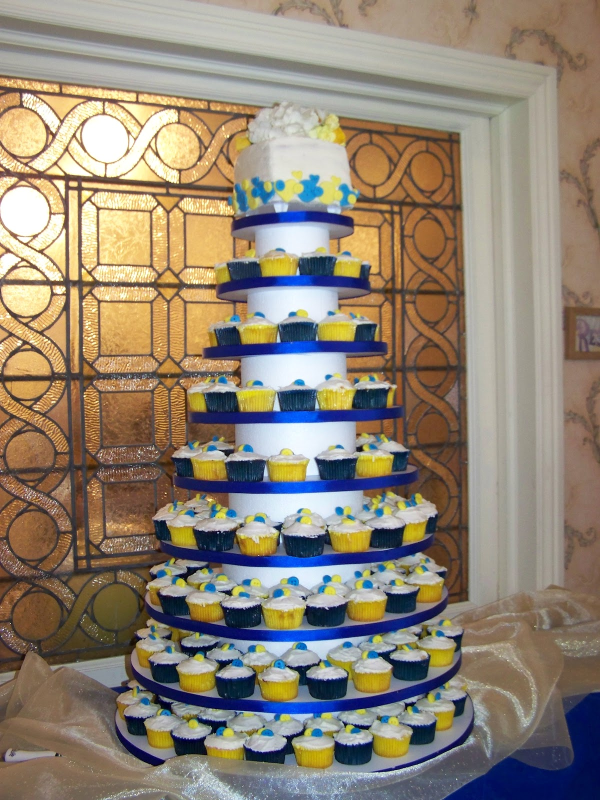 Cake A Licious Royal Blue And Yellow Buttons Wedding Cake