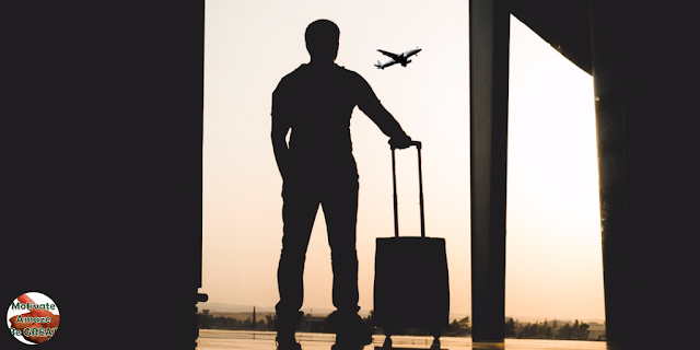 "Header image of the article: ""6 Benefits Of Travelling For Personal Development"". Man traveller shadow with airplane, thinking of personal development, empowered."