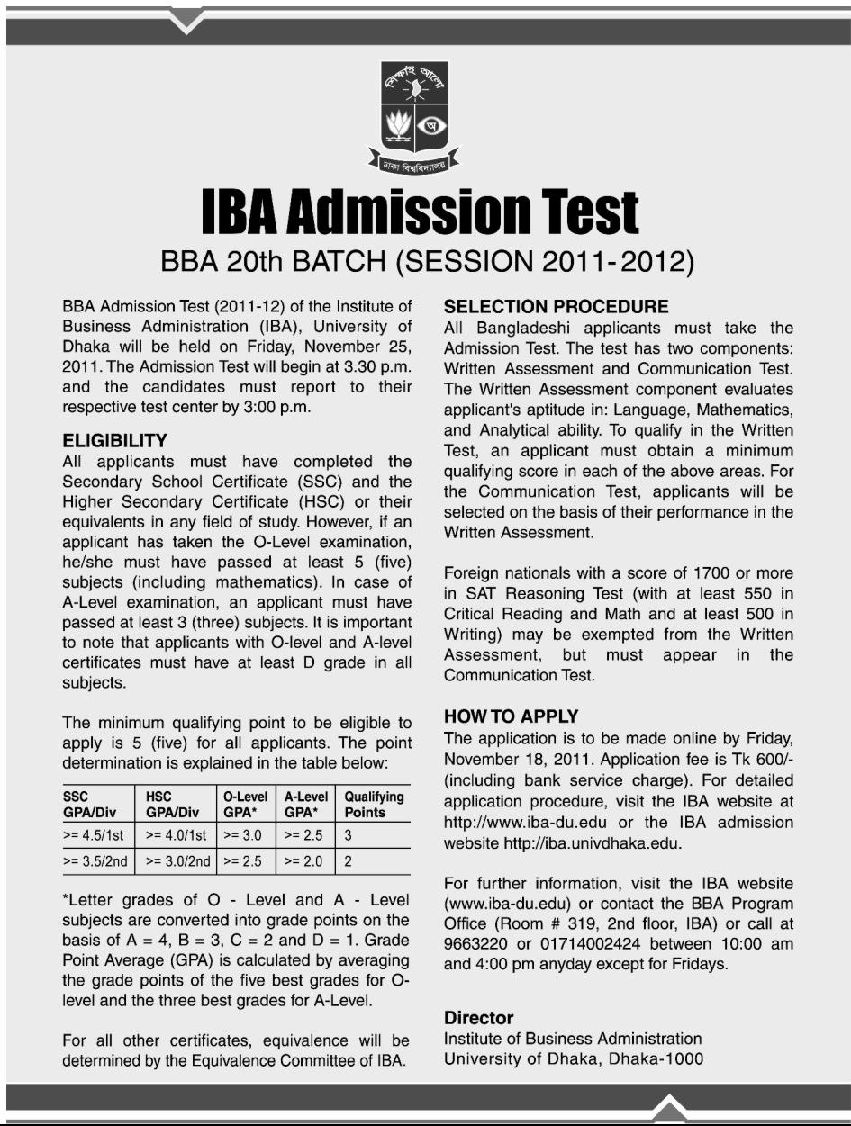 Bangladesh:: IBA Admission Test 2011-2012 will be held on