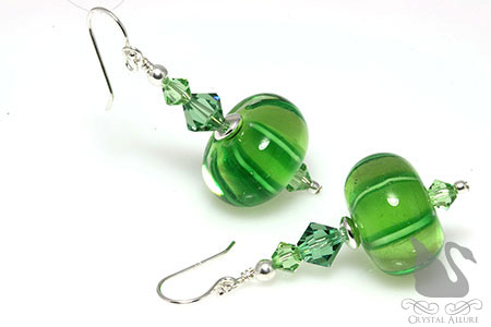 Sweet Melons Green Crystal Lampwork Beaded Earrings (EL287)