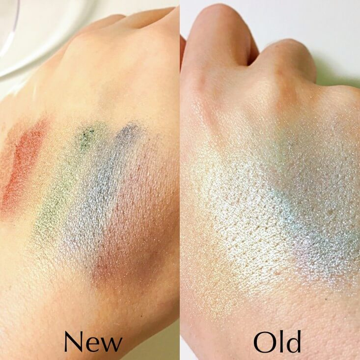 wet n wild coloricon Rainbow Highlighters Unicorn Glow vs Moonstone Mystique swatches