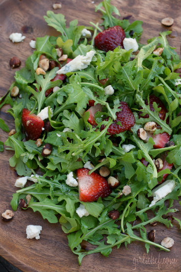 Strawberry Arugula Salad w/ Hazelnuts & Blue Cheese