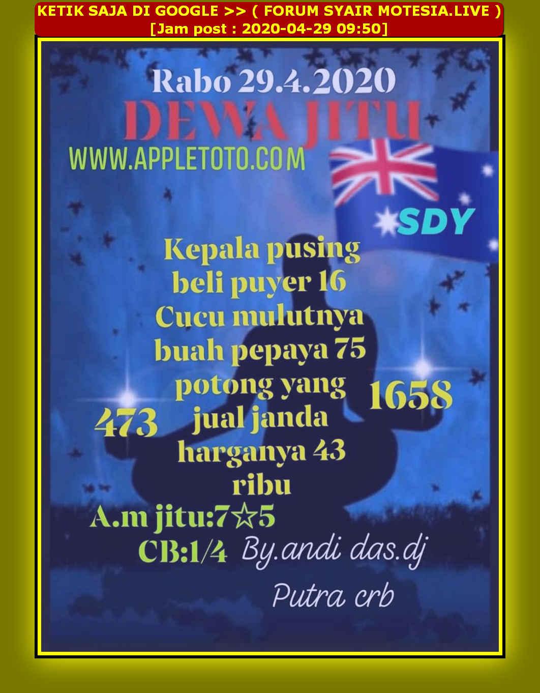 Kode syair Sydney Rabu 29 April 2020 32