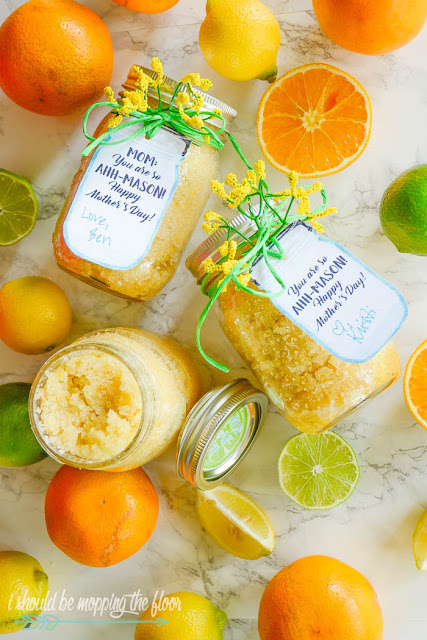 Budget-Friendly Citrus Sugar Scrub for Mother's Day with Free Printable Mason Jar Gift Tags