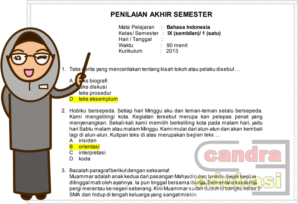 Soal Uas Bahasa Indonesia Kelas 9 Semester 1 Dan Kunci Jawaban Administrasi Sekolah Sd Mi Smp Mts Sma Ma Smk