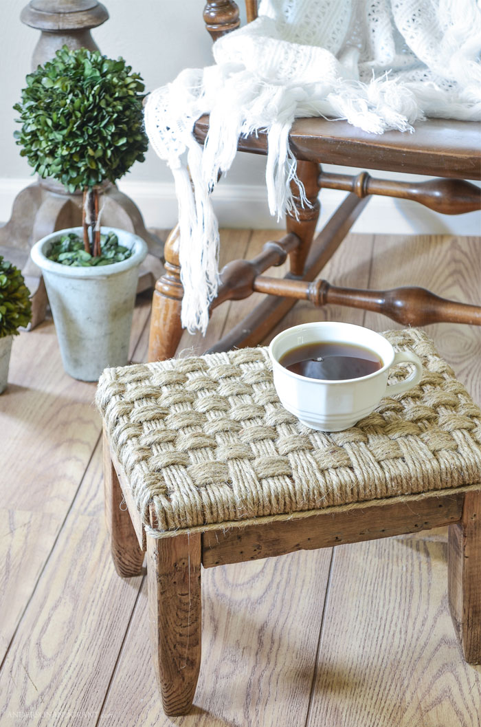 Footstool upholstered in jute twine