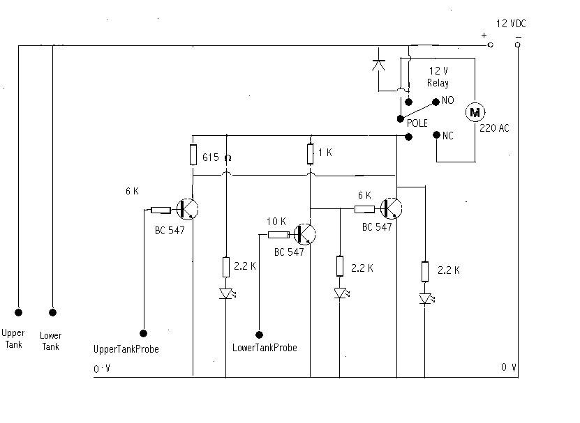 Motor Dry Running Tank Overflow Controller Homemade Circuit Projects